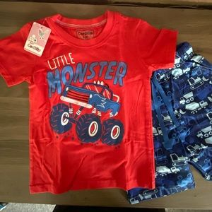 Other - Toddler boys monster truck shirt and shorts set